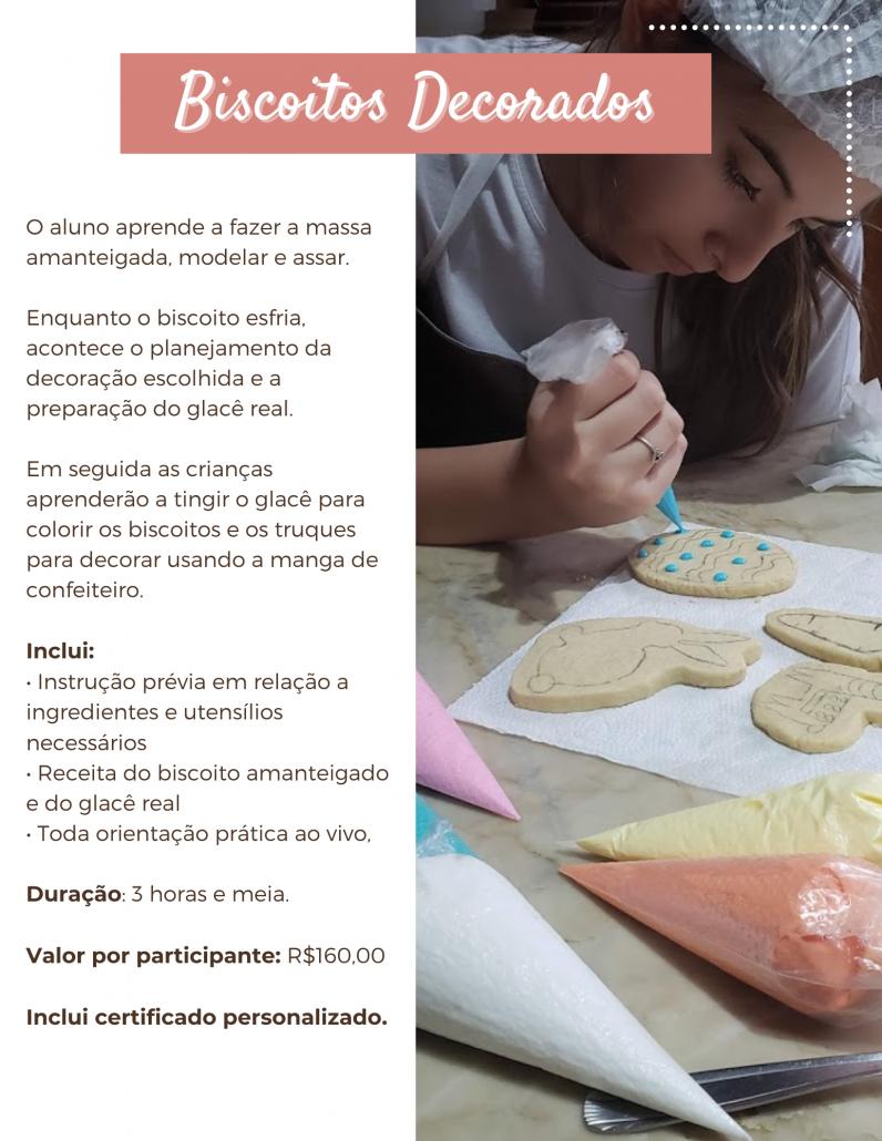 Biscoitos decorados com glacê real, massa amanteigada, biscoitos amanteigados, aulas de culinária online.