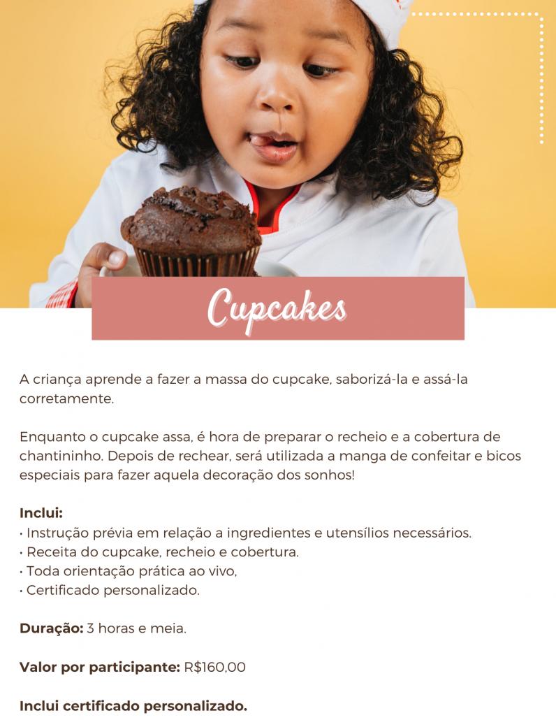 Cupcake, decoração de cupcake, chantininho, aula de culinária online, aula online ao vivo.